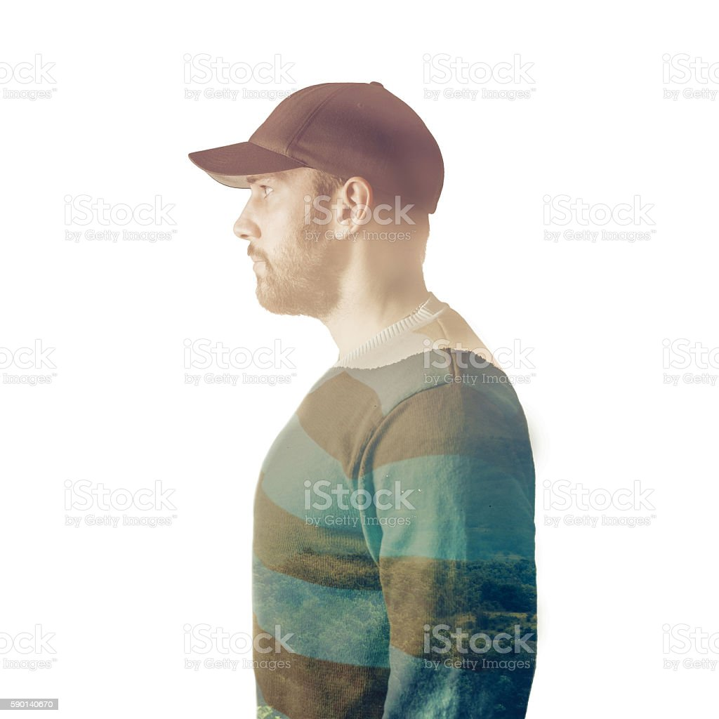 Double exposure portrait of man with mountain stock photo
