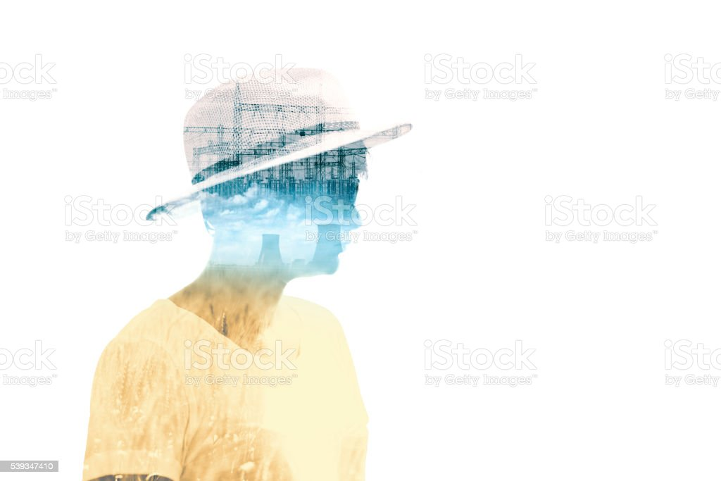 Double exposure portrait, people and industry stock photo