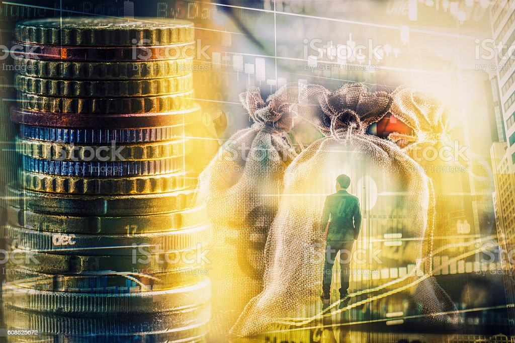 Double exposure stylish adult businessman trendy suit and lookin stock photo