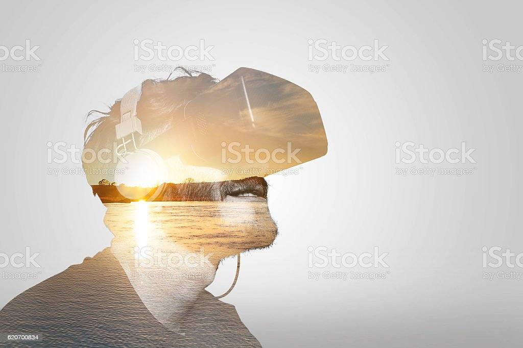 Double Exposure Virtual Reality stock photo