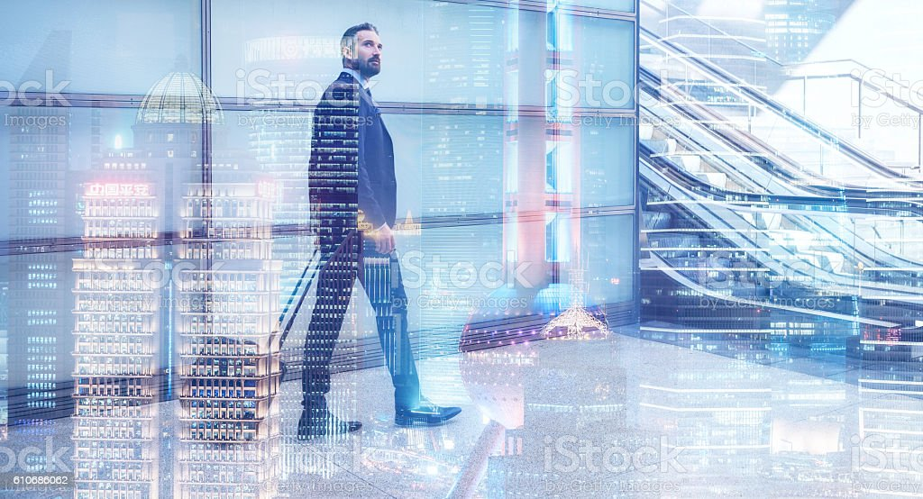 Double exposure with bearded man and Shanghai Skyline stock photo