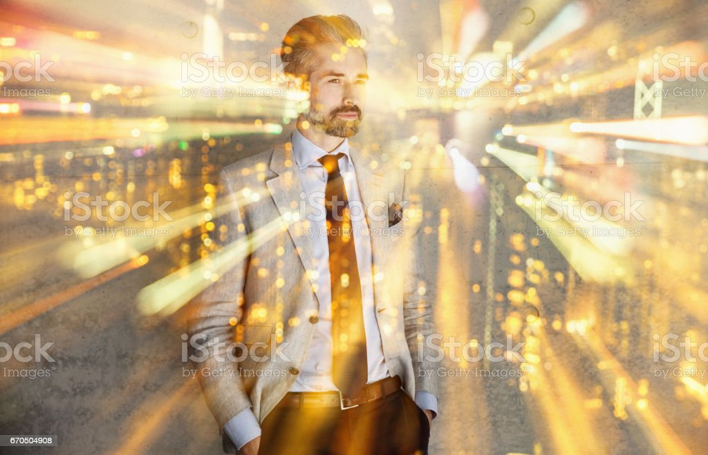 Double exposure with businessman man and city lights stock photo