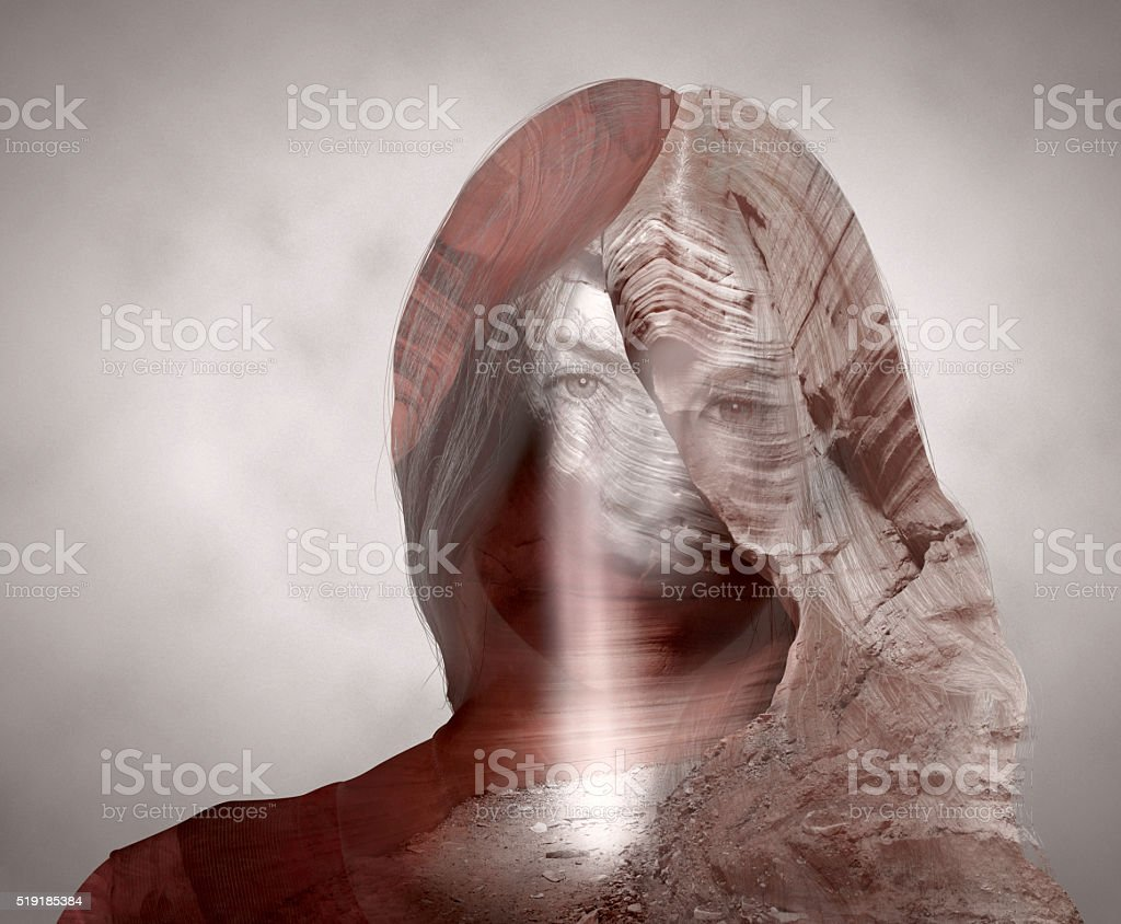 Double exposure with canyon pretty woman portrait stock photo