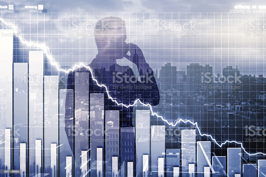 Double exposure with crisis illustration and man talking on cell stock photo