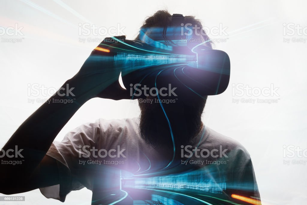 Double exposure  with virtual glasses stock photo