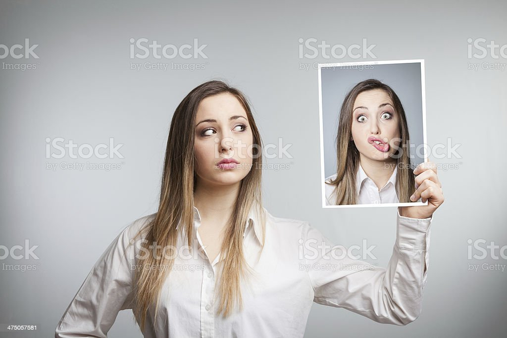 Double expression stock photo