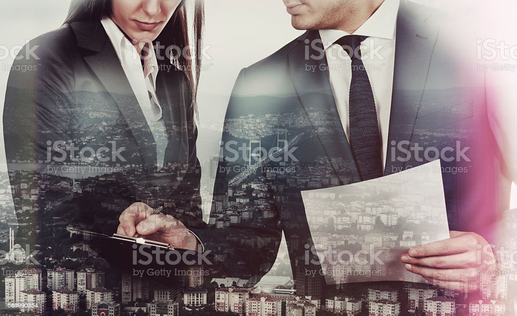 Double exsposure Business People on City View stock photo