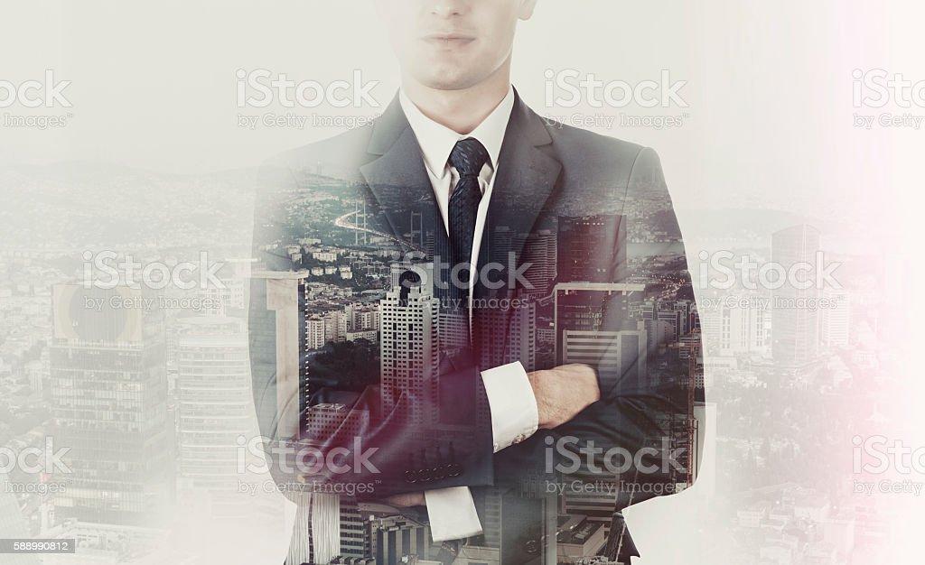 Double exsposure Businessman on City View stock photo