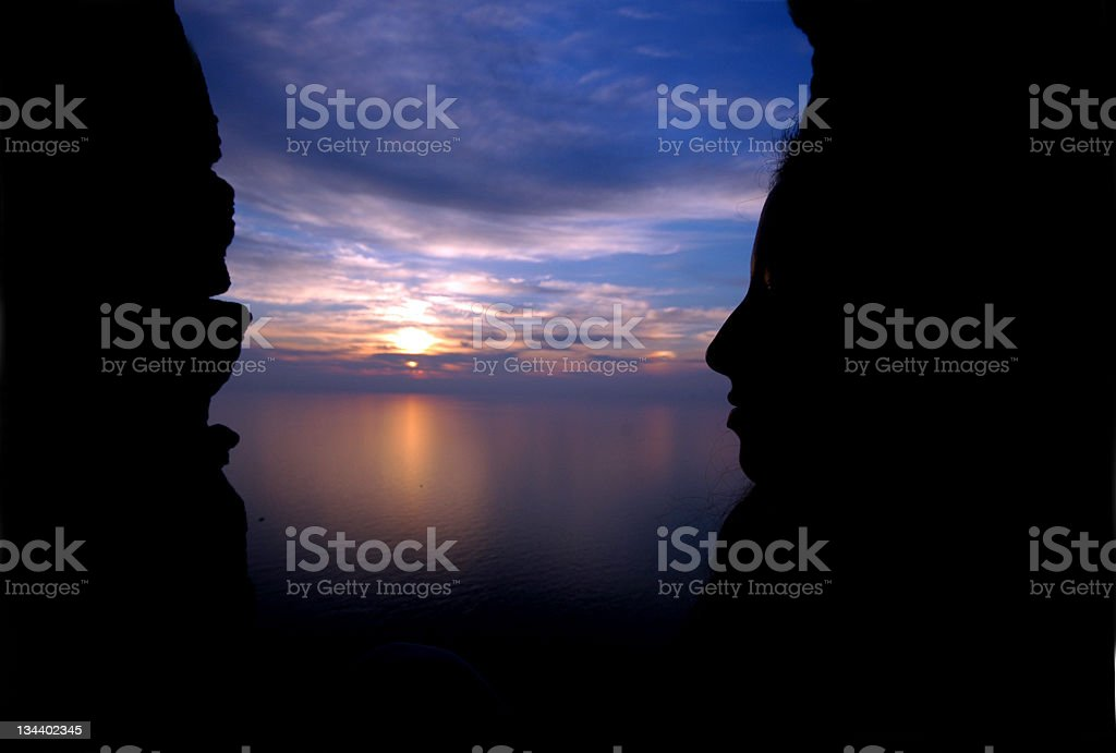 Double faced sunset silhouette royalty-free stock photo