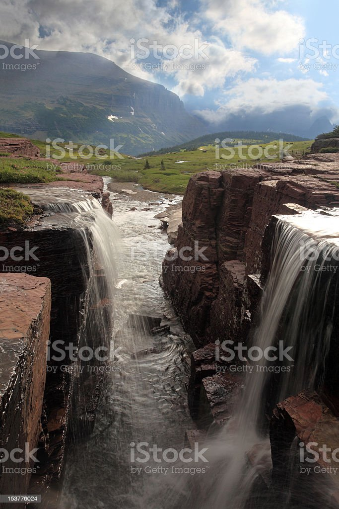 Double Falls In Glacier National Park royalty-free stock photo