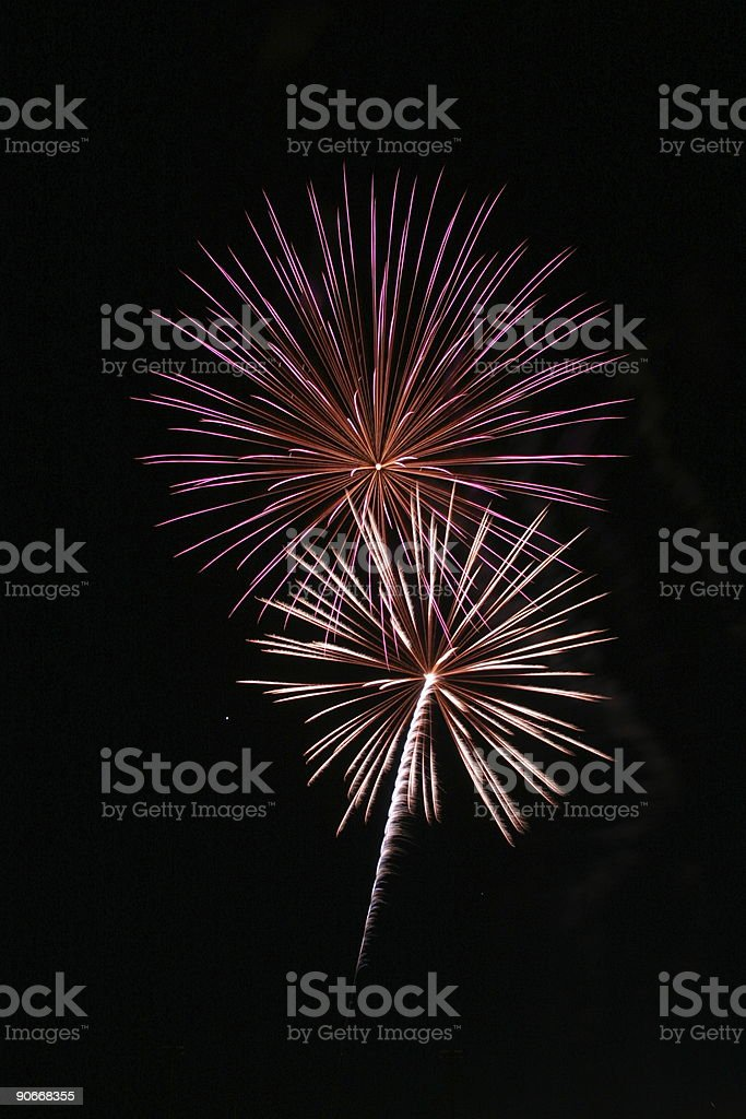 Double Fireworks royalty-free stock photo