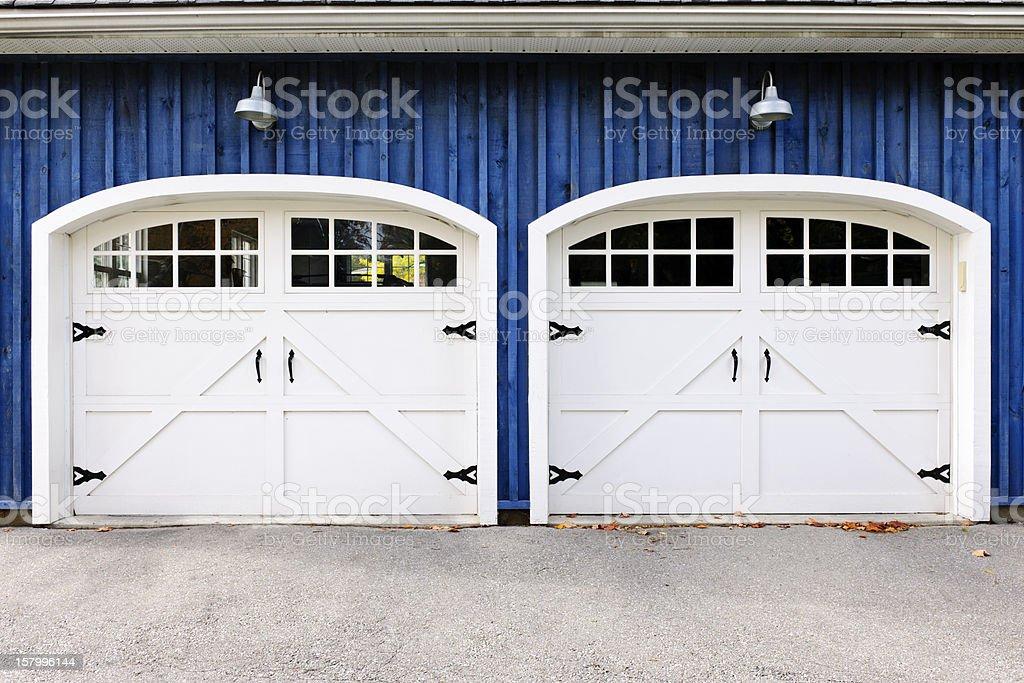 Double garage doors stock photo