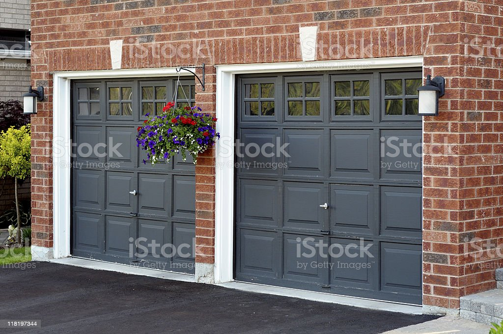 Double garage in an angle view stock photo