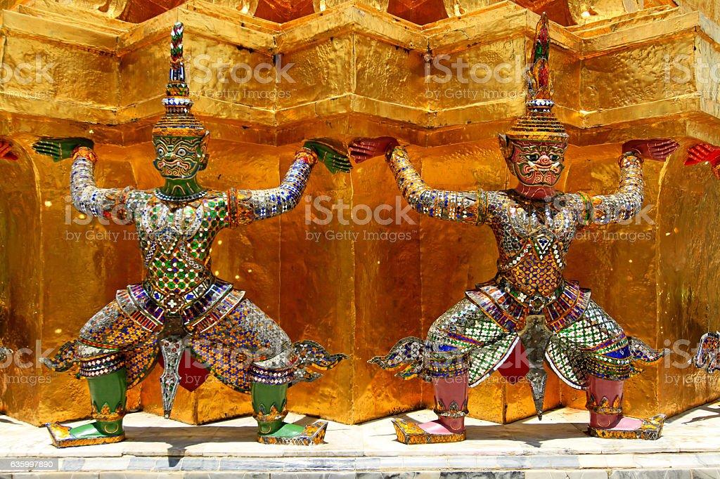 Double giant ramayana statues stock photo