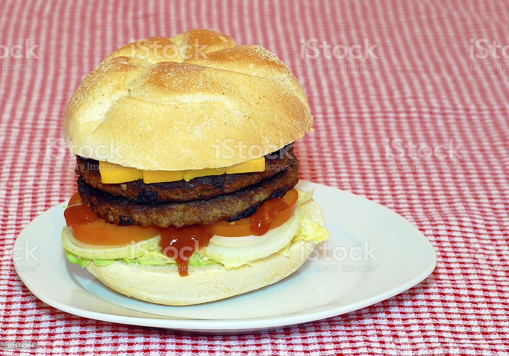 double hamburger on a plate royalty-free stock photo