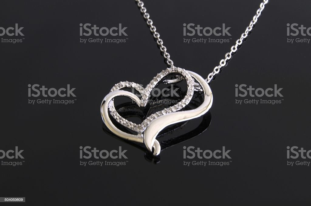 Double heart necklace stock photo