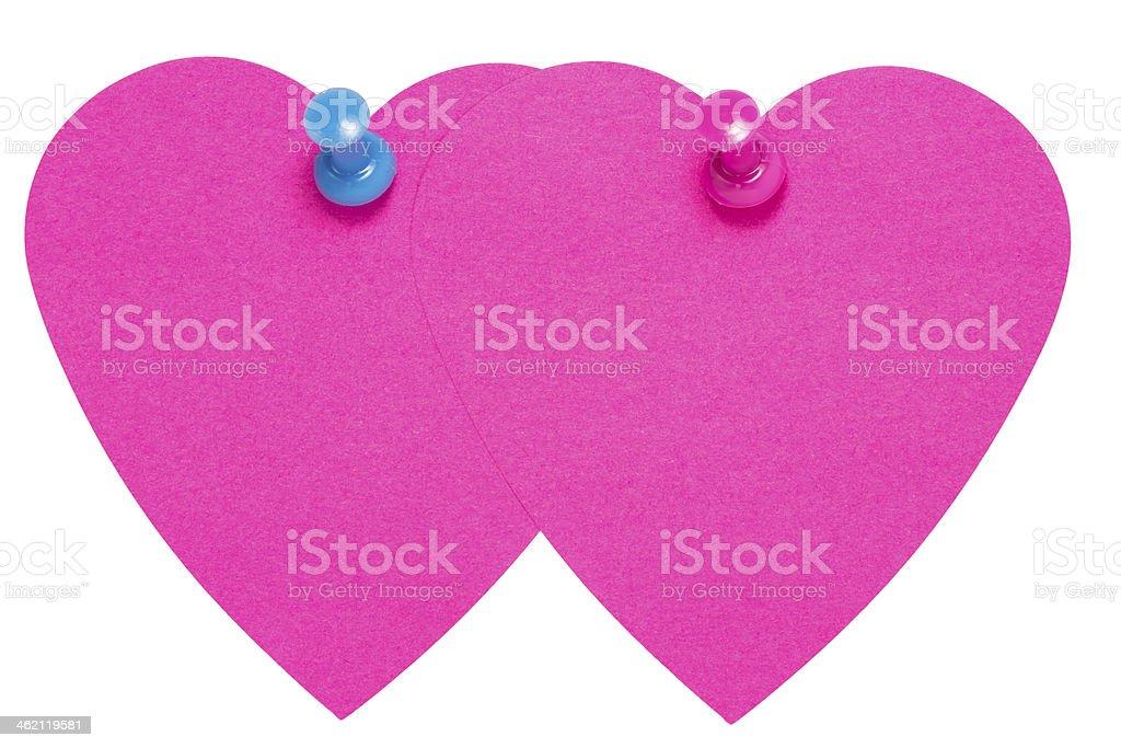 Doppio cuore adesivo etichetta rosa e blu, con pin foto stock royalty-free