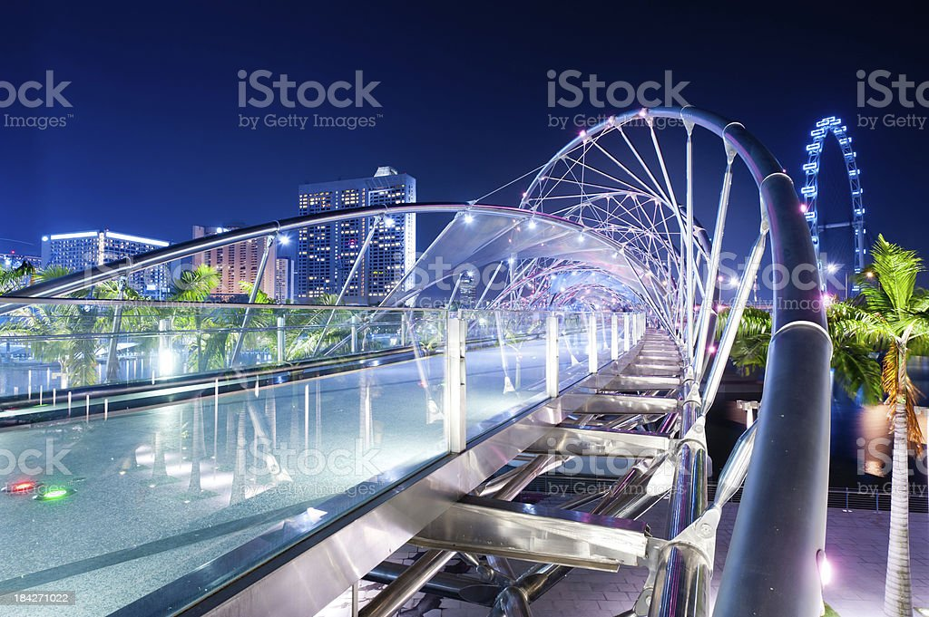 Double Helix Bridge and Flyer, Singapore stock photo