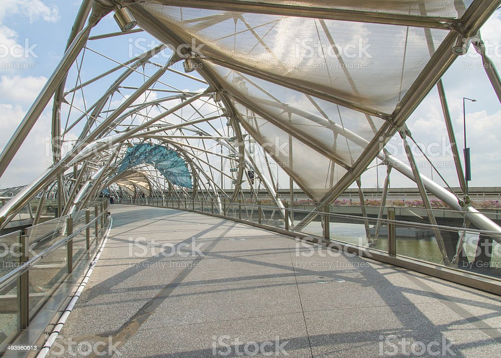 Double Helix Bridge in Singapore stock photo