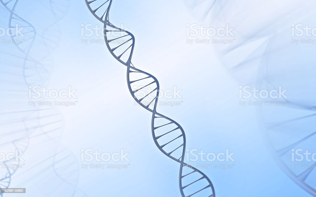 DNA Double helix, metal with white and blue background stock photo