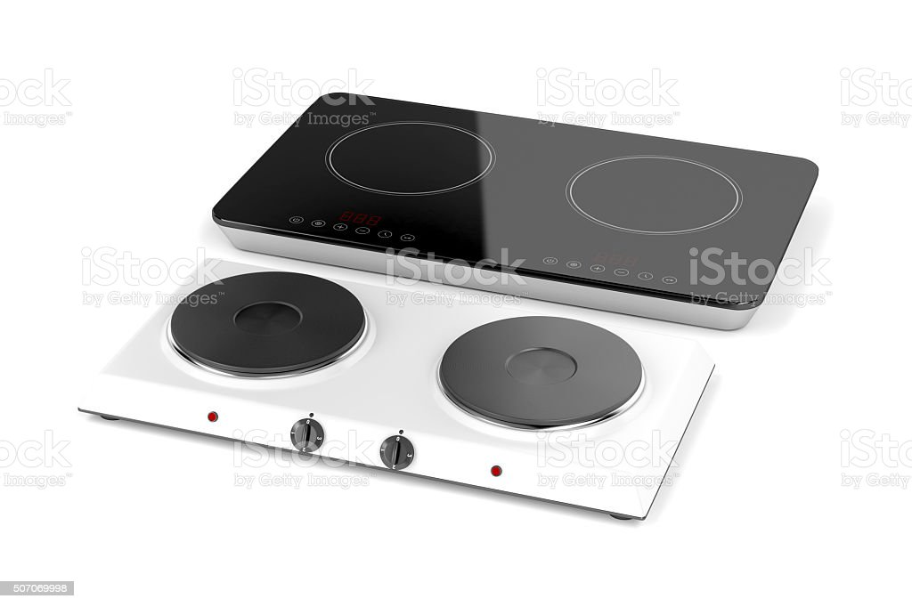 Double hot plate and induction cooktop stock photo
