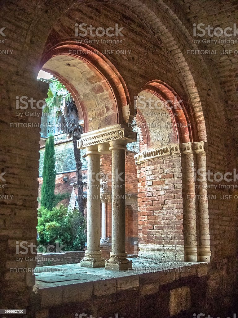 double lancet light window with bricks wall stock photo