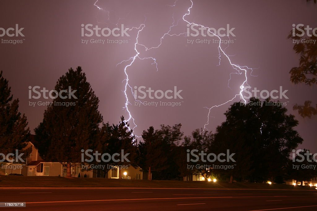 Double Lightning Strike stock photo