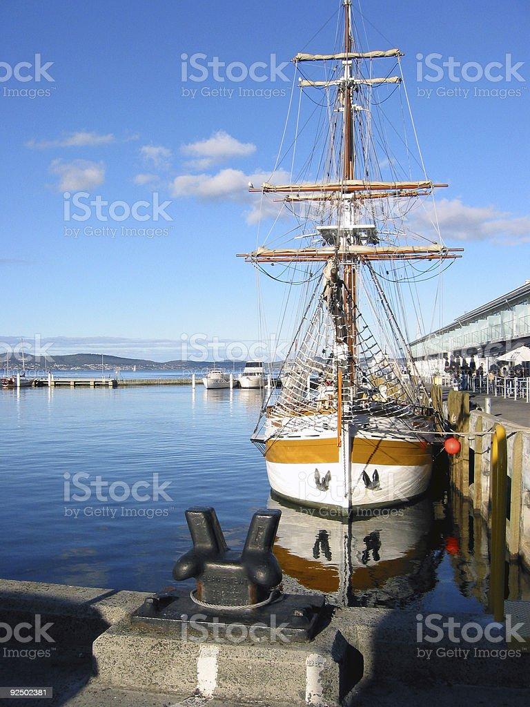 double masted schooner at dock 2 stock photo