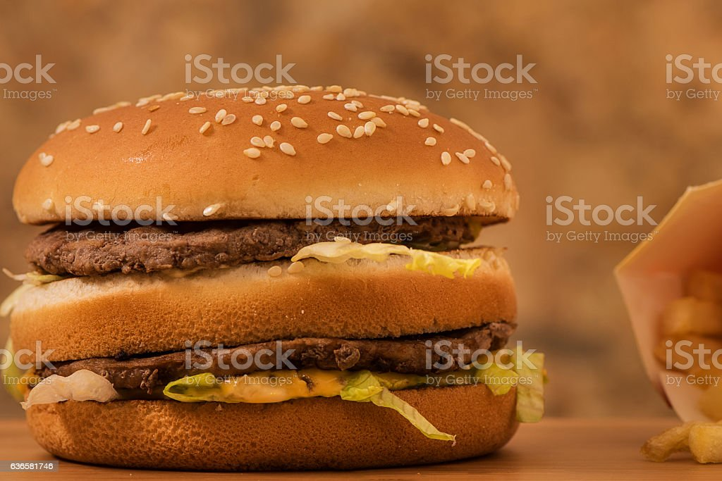 Double meat Hamburger with  fried fries stock photo