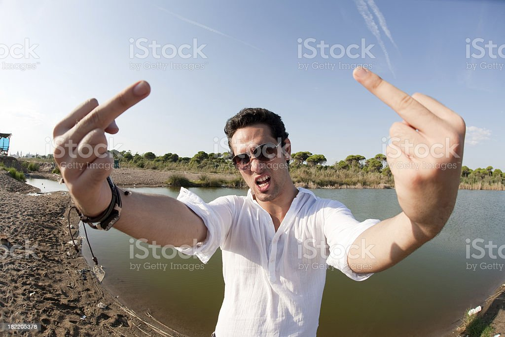 Double middle finger stock photo