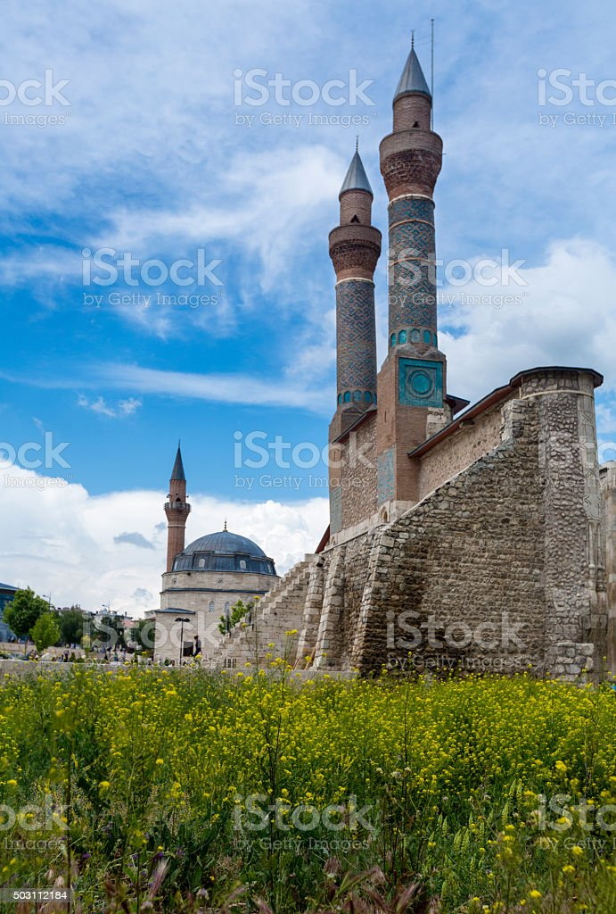 Double Minaret Madrasah and Kale Mosque stock photo