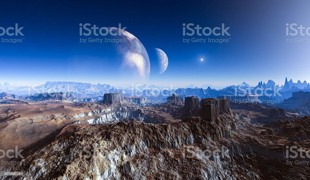 double moon over foreign planet surface. stock photo