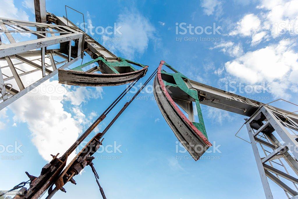 Double oil pumps stock photo