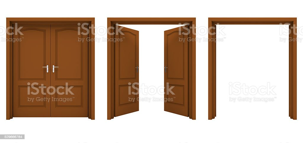 Double open door. stock photo