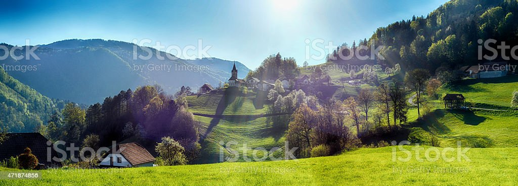 Double panorama with double flare stock photo