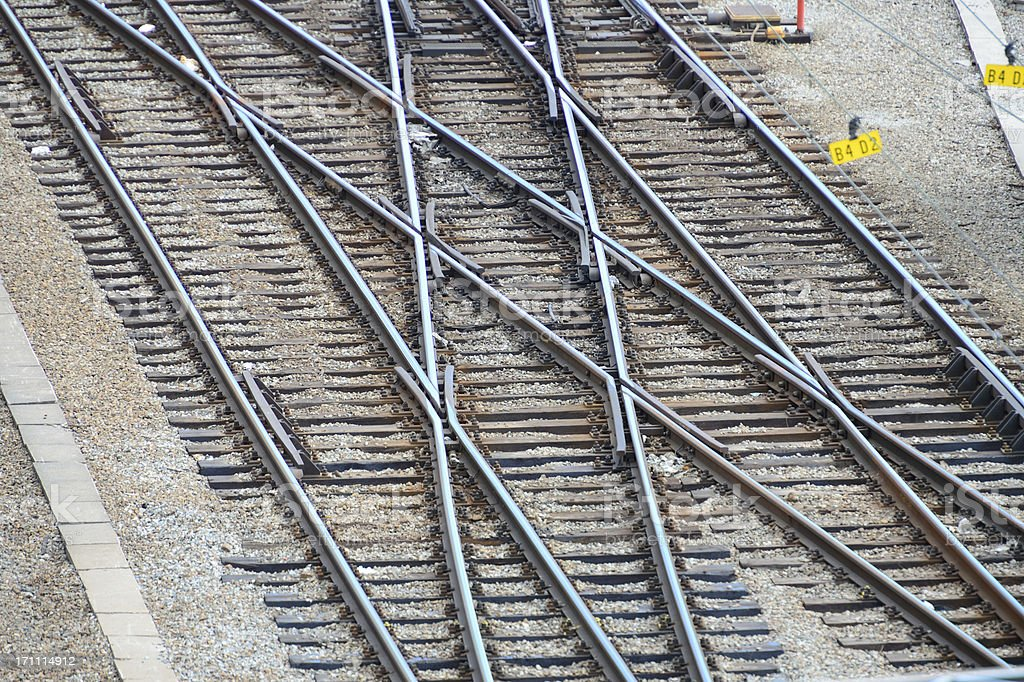 Double railroad switch stock photo