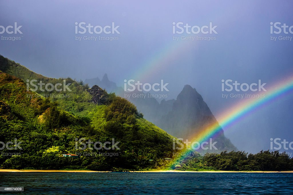 Double Rainbow, Bali Hai Kauai stock photo