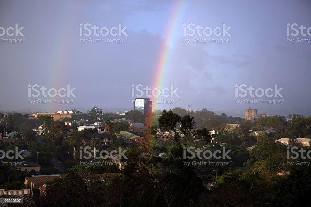 Double rainbow end city royalty-free stock photo