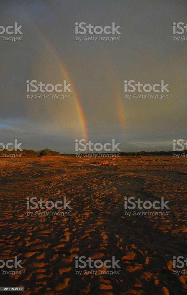Double Rainbow from Amazon Sandbar royalty-free stock photo