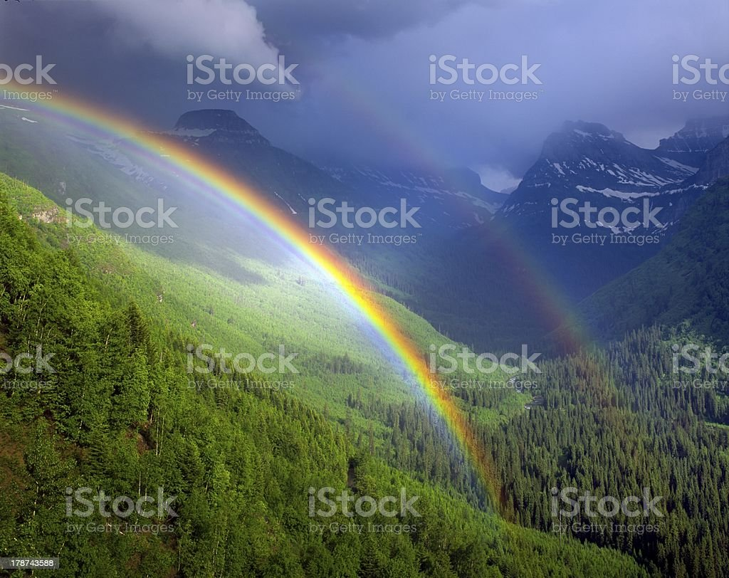 Double rainbow in Glacier National Park royalty-free stock photo