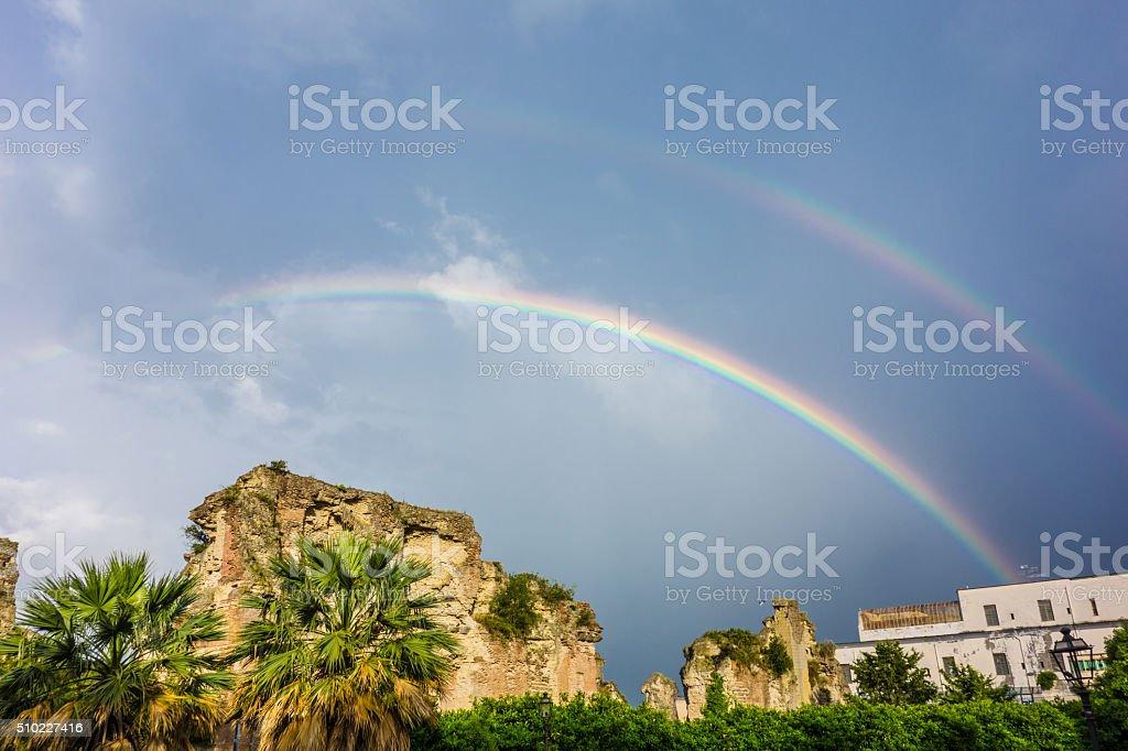 Double Rainbow in Pozzuoli, Naples, Italy stock photo