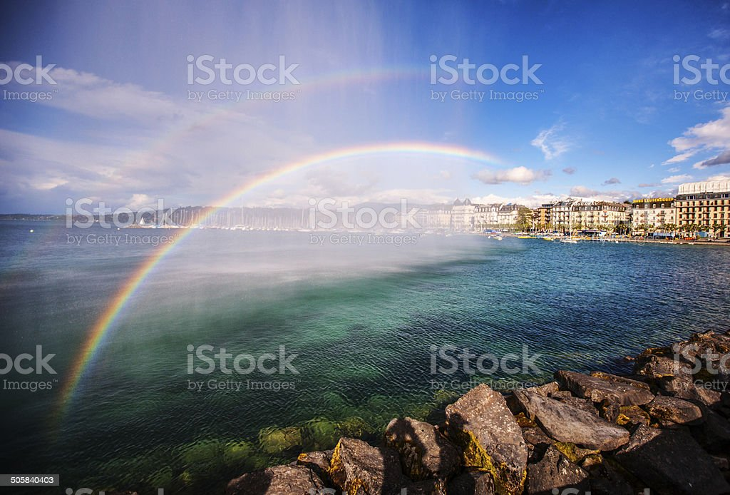 Double Rainbow over lake Geneva, Switzerland stock photo