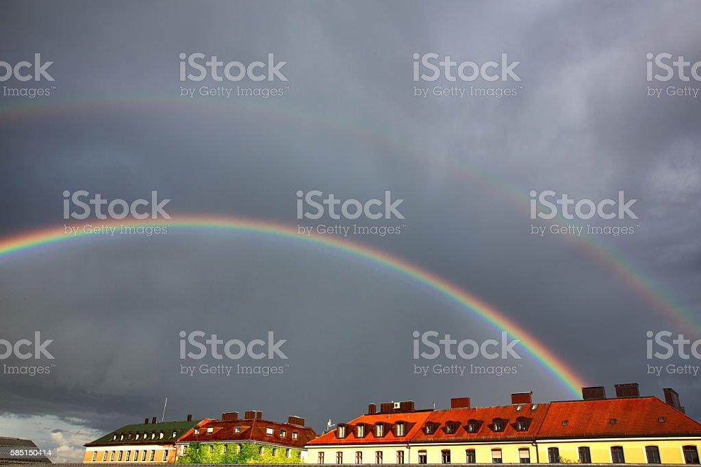 Double Rainbow Over Munich stock photo