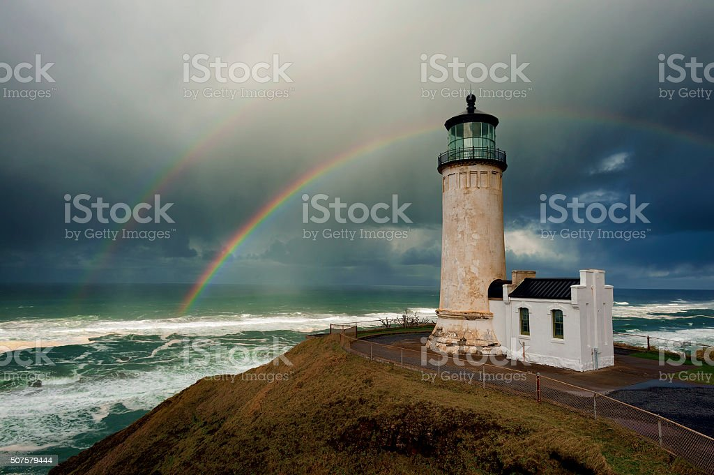 Double Rainbow over North Head Lighthouse stock photo