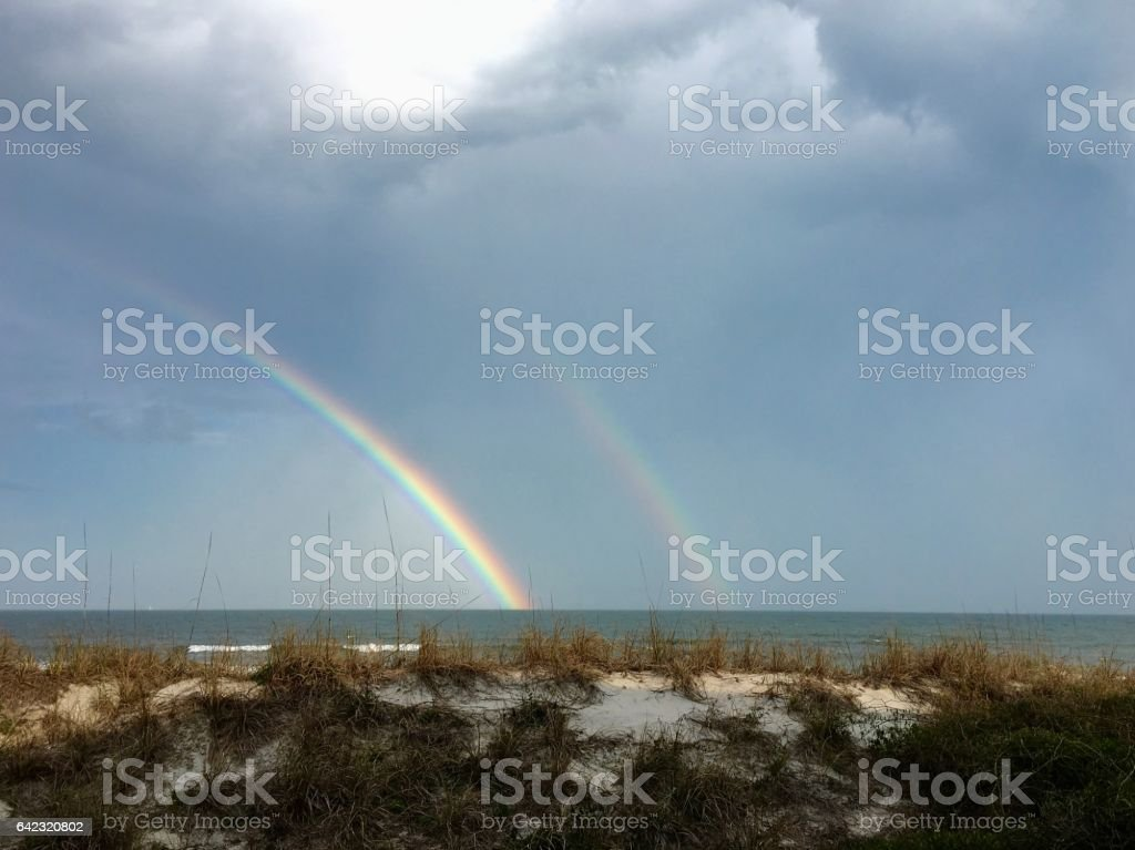Double Rainbow over the Atlantic Ocean stock photo