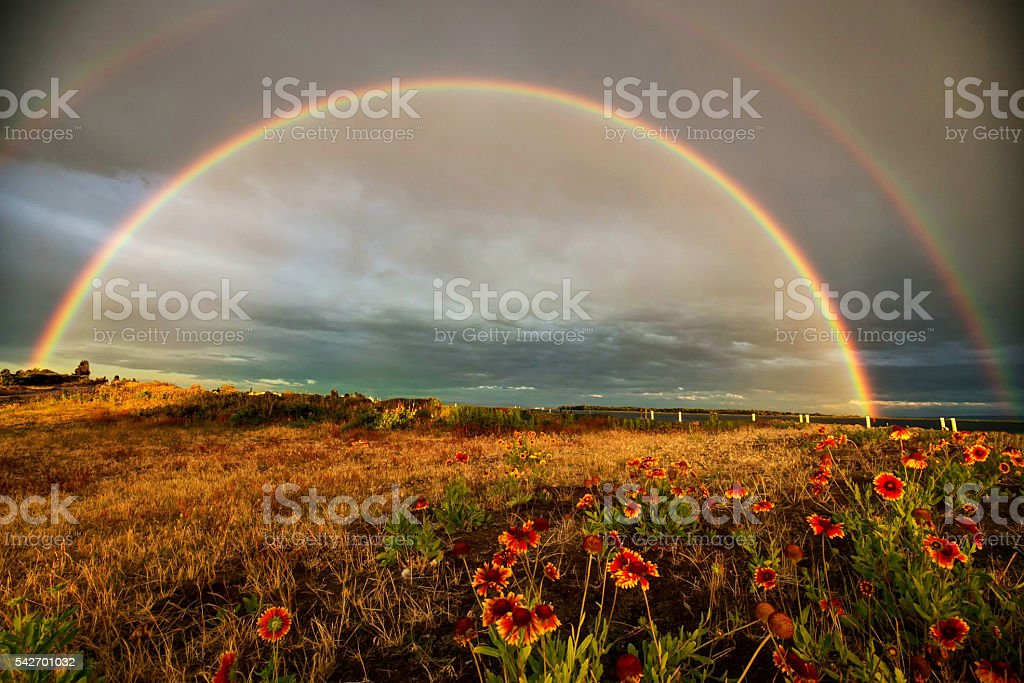Double rainbows over a park stock photo