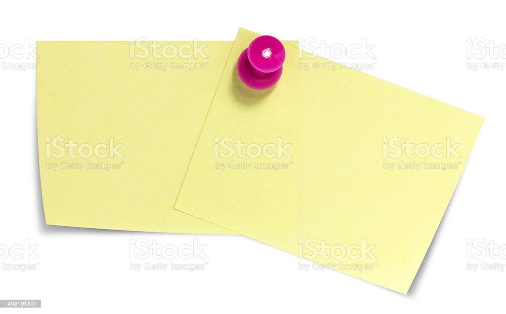 Doppio rettangolare foglietto adesivo, rosa pin e ombra foto stock royalty-free