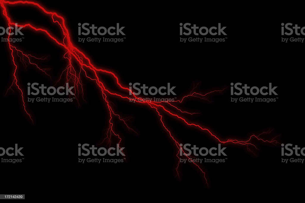 Double Red Lightening Strike - Storm stock photo