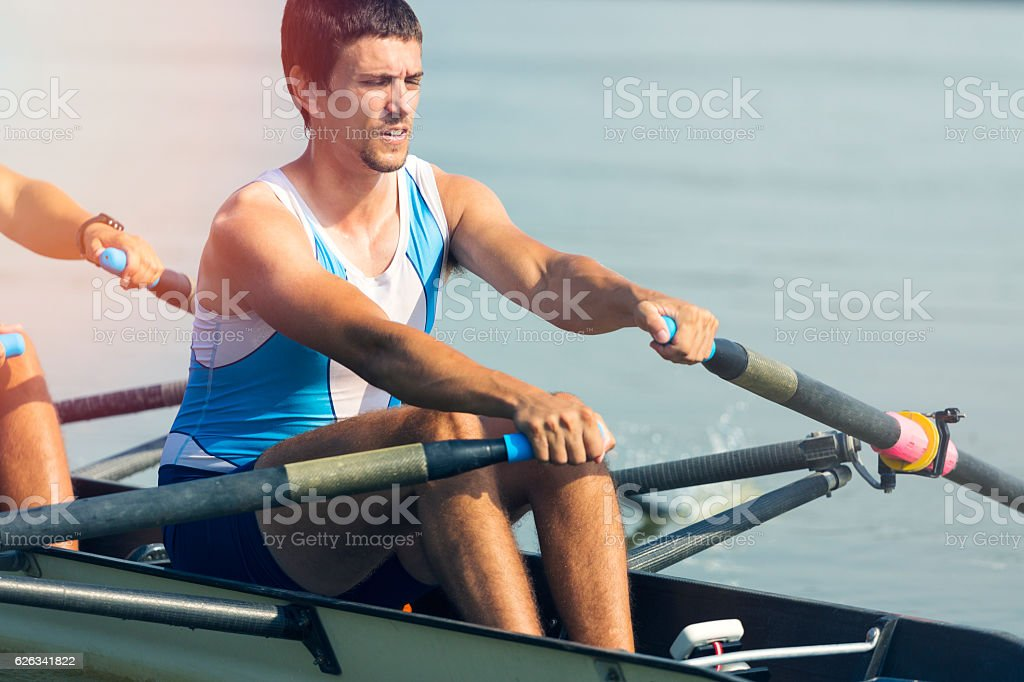 Double scull rowing stock photo