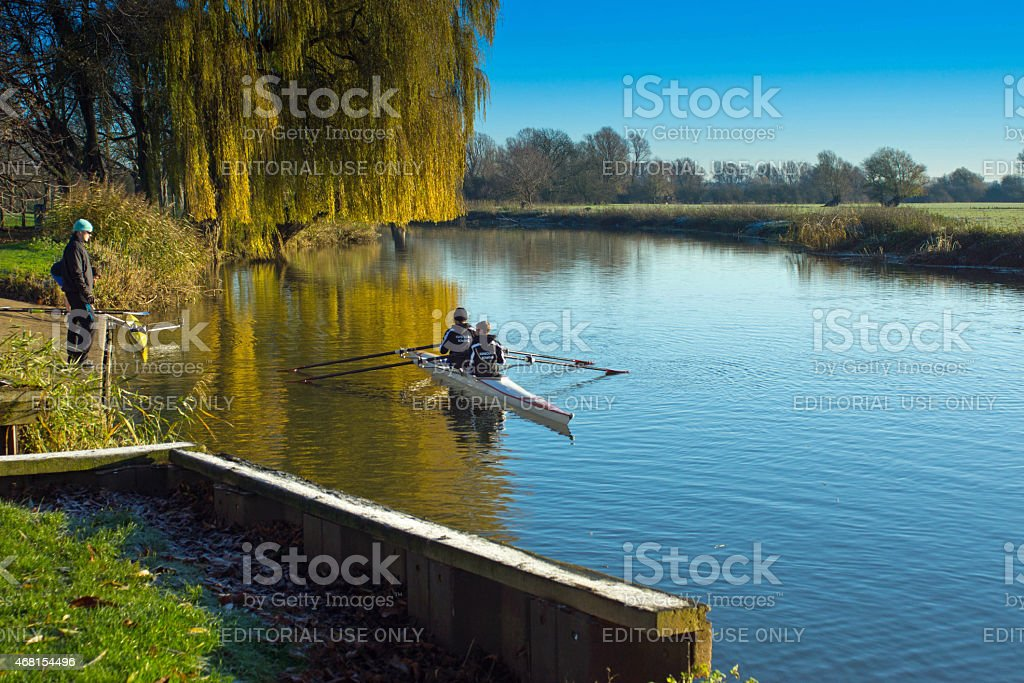 Double sculls training in Huntingdon stock photo